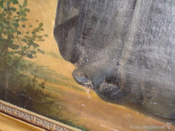 Arte: firmado año 1889 pintura francesa religiosa oleo san vicente de paul gran marco dorado - 100 x 77 cm - Foto 34 - 173414897