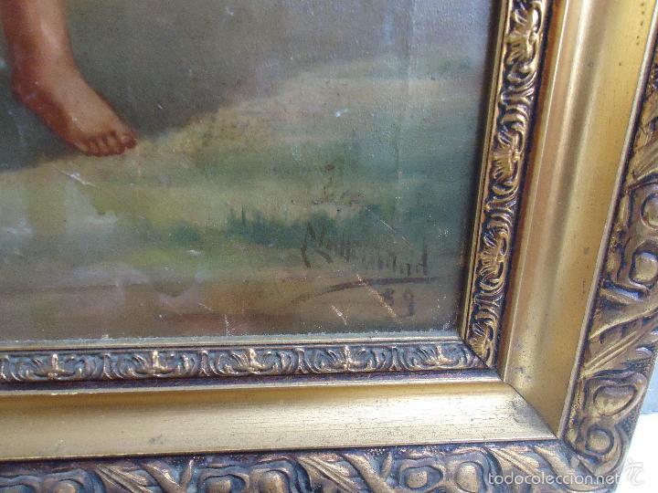 Arte: firmado año 1889 pintura francesa religiosa oleo san vicente de paul gran marco dorado - 100 x 77 cm - Foto 36 - 173414897