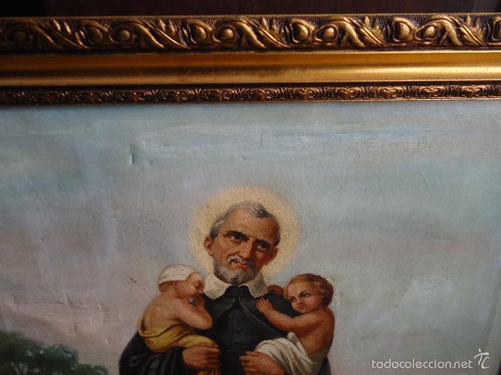 Arte: firmado año 1889 pintura francesa religiosa oleo san vicente de paul gran marco dorado - 100 x 77 cm - Foto 37 - 173414897