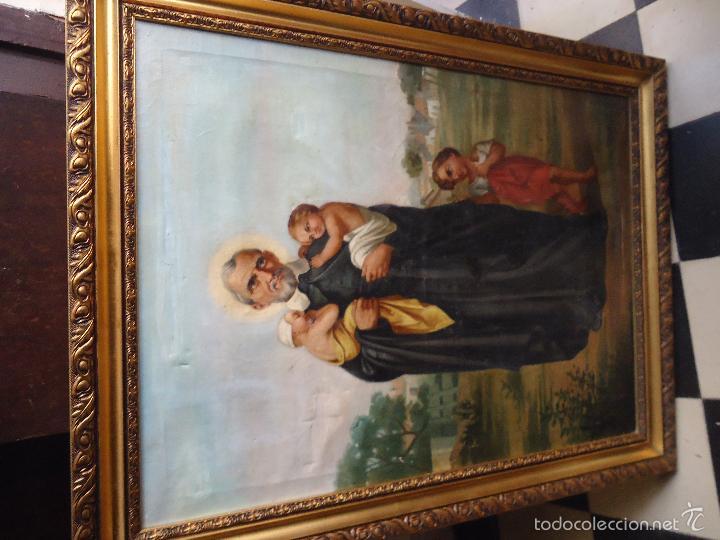 Arte: firmado año 1889 pintura francesa religiosa oleo san vicente de paul gran marco dorado - 100 x 77 cm - Foto 38 - 173414897