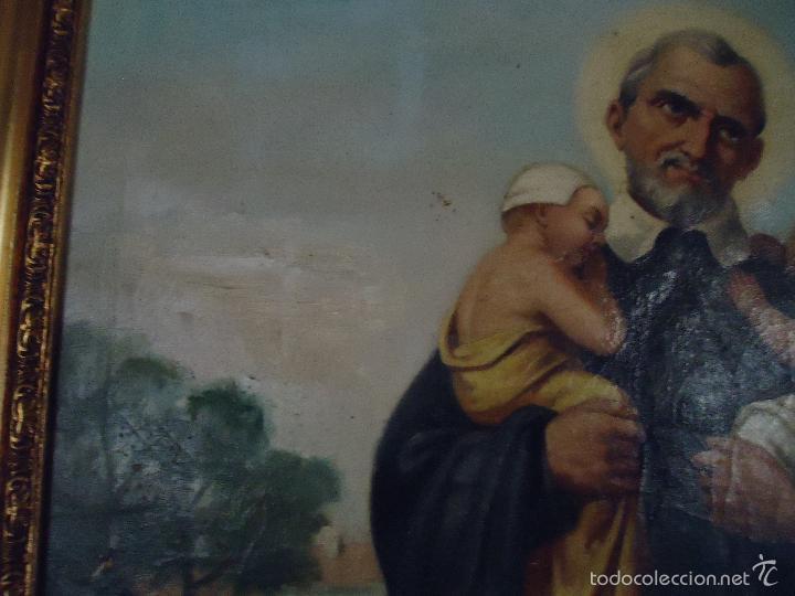 Arte: firmado año 1889 pintura francesa religiosa oleo san vicente de paul gran marco dorado - 100 x 77 cm - Foto 39 - 173414897