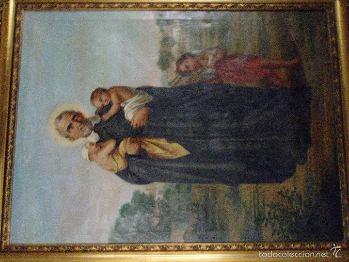 Arte: firmado año 1889 pintura francesa religiosa oleo san vicente de paul gran marco dorado - 100 x 77 cm - Foto 40 - 173414897