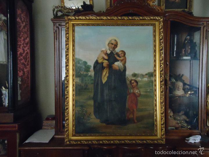 Arte: firmado año 1889 pintura francesa religiosa oleo san vicente de paul gran marco dorado - 100 x 77 cm - Foto 42 - 173414897