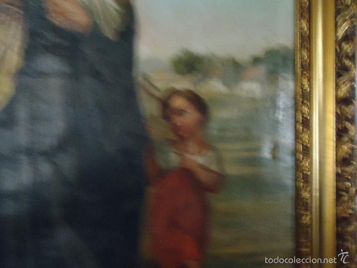 Arte: firmado año 1889 pintura francesa religiosa oleo san vicente de paul gran marco dorado - 100 x 77 cm - Foto 43 - 173414897