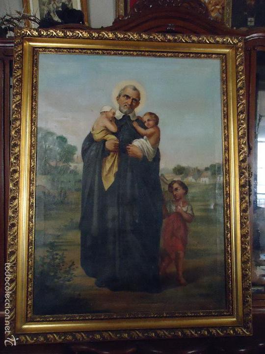 Arte: firmado año 1889 pintura francesa religiosa oleo san vicente de paul gran marco dorado - 100 x 77 cm - Foto 44 - 173414897