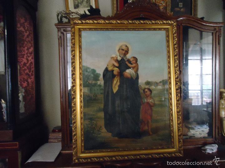 Arte: firmado año 1889 pintura francesa religiosa oleo san vicente de paul gran marco dorado - 100 x 77 cm - Foto 47 - 173414897