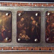 Arte: CUADRO RELIGIOSO CON ESCENAS BIBLÍCAS - MARCO DECORADO CON GRESITE - VINTAGE. Lote 56965701