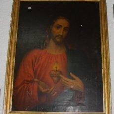 Arte: ANTIGUO SAGRADO CORAZÓN DE JESÚS. S.XIX. MARCO DE MADERA, ESTUCO Y PAN DE ORO.. Lote 57011599