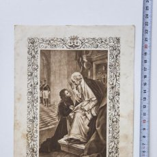 Arte: ANTIGUO HUECOGRABADO MUNBRÚ, SANTA TERESITA AL PIE DE SU SANTIDAD LEÓN XIII. Lote 57036955