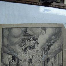 Arte: ANTIGUO DIBUJO ORIGINAL A TINTA DE, IGLESIA HUESCA, ALTAR EN LLAMAS FECHADO 1817 Y FIRMADO,. Lote 57126563