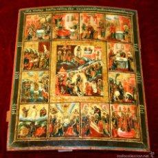 Arte: J1-020. ICONO BIZANTINO. ESCENAS DE LA VIDA DE JESÚS. ESCUELA GRIEGA O RUSA.XVIII-XIX(?). Lote 57087316