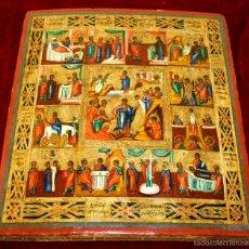 Arte: J1-021. ICONO BIZANTINO. ESCENAS DE LA VIDA DE JESÚS. RUSIA O GRECIA (?) XVIII-XIX.(?). Lote 57088672