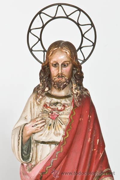 Arte: Sagrado Corazón de Jesus, escultura de Olot - Foto 2 - 45523138