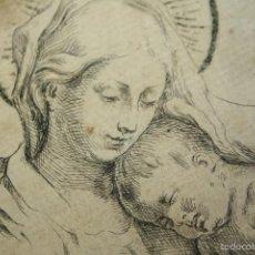 Arte: VIRGEN CON NIÑO. GRABADO SOBRE PAPEL. ANÓNIMO. ESCUELA ITALIANA. CIRCA 1600 (?).. Lote 57259007