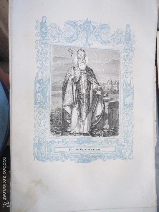 REF: KK - AÑO 1861 ORIGINAL GRABADO DE LA EPOCA RELIGIOSO - SAN CLEMENTE PAPA Y MARTIR (Arte - Arte Religioso - Grabados)