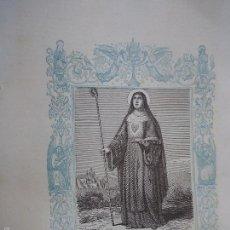 Arte: REF: KK - AÑO 1861 ORIGINAL GRABADO DE LA EPOCA RELIGIOSO - SANTA GERTRUDIS LA MAGNA VIRGEN. Lote 57277158