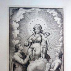 Arte: ANTIGUO GRABADO : NTRA SRA DE LA LETXE Y SAN MAMETE SE VENERA EN IGLESIA DE SAN FRANCISCO BARCELONA. Lote 57277492