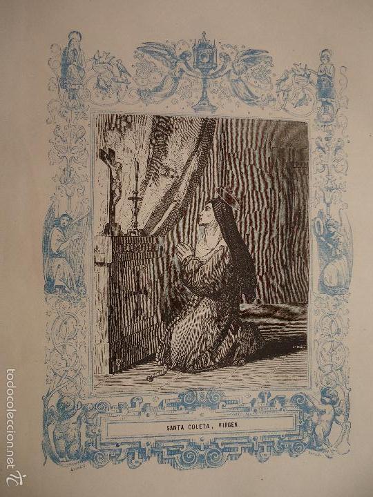 REF: KK - AÑO 1862 ORIGINAL GRABADO DE LA EPOCA RELIGIOSO - SANTA COLETA , VIRGEN (Arte - Arte Religioso - Grabados)