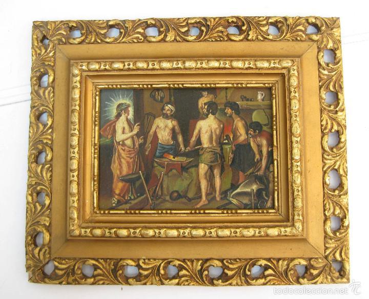 PRECIOSA PINTURA OLEO SOBRE TABLA MARCO MADERA PAN ORO FIRMADA (Arte - Arte Religioso - Pintura Religiosa - Oleo)