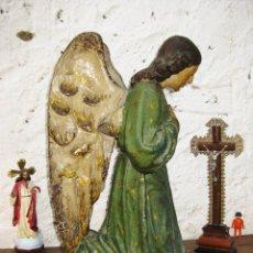 Arte: PRECIOSO GRAN ANGEL DE LA GUARDA EN ESTUCO POLICROMADO SOBRE MADERA. Lote 57296527