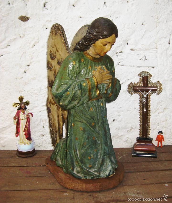 Arte: PRECIOSO GRAN ANGEL DE LA GUARDA EN ESTUCO POLICROMADO SOBRE MADERA - Foto 2 - 57296527