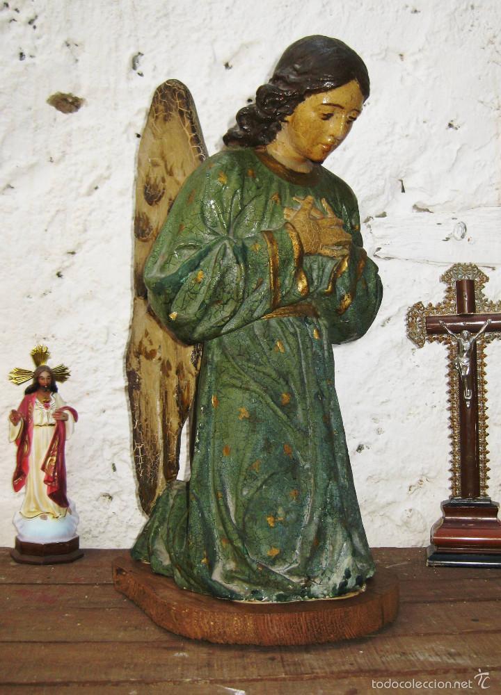 Arte: PRECIOSO GRAN ANGEL DE LA GUARDA EN ESTUCO POLICROMADO SOBRE MADERA - Foto 3 - 57296527