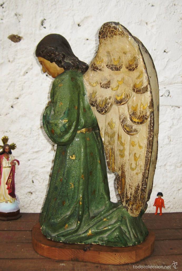 Arte: PRECIOSO GRAN ANGEL DE LA GUARDA EN ESTUCO POLICROMADO SOBRE MADERA - Foto 4 - 57296527
