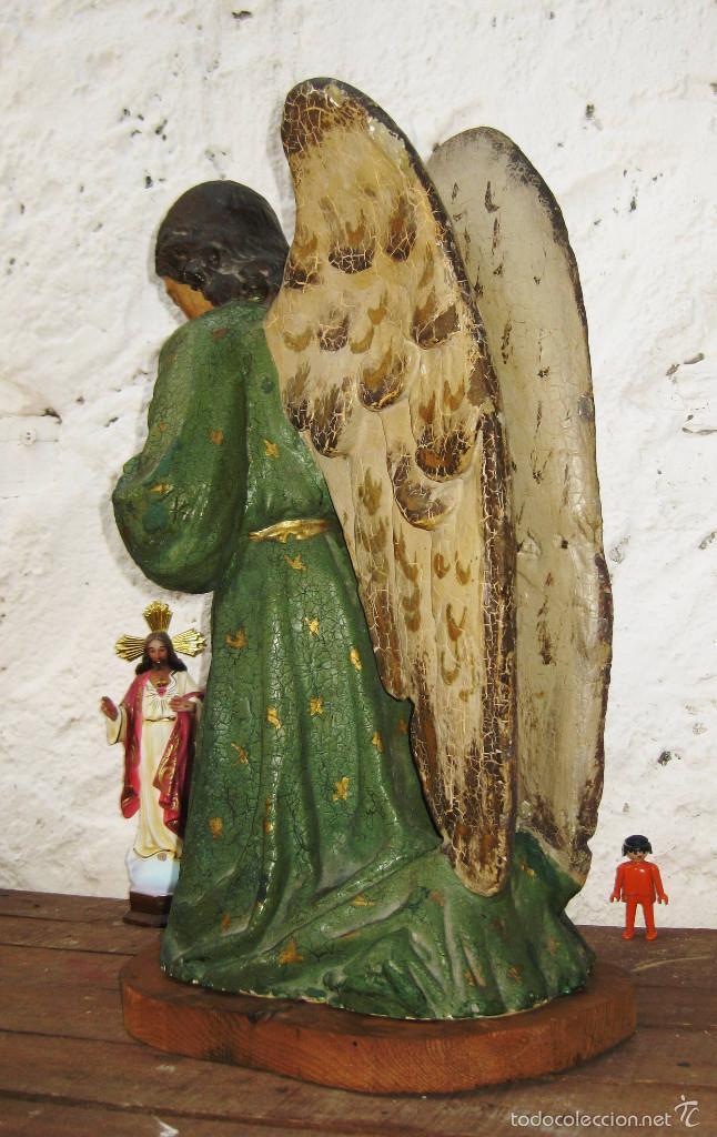 Arte: PRECIOSO GRAN ANGEL DE LA GUARDA EN ESTUCO POLICROMADO SOBRE MADERA - Foto 5 - 57296527