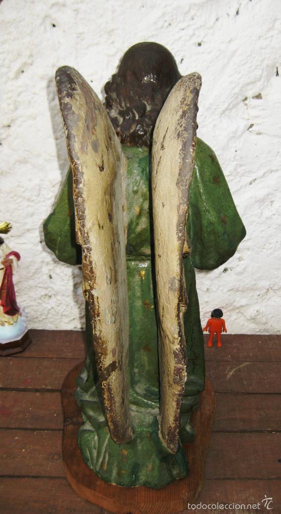 Arte: PRECIOSO GRAN ANGEL DE LA GUARDA EN ESTUCO POLICROMADO SOBRE MADERA - Foto 6 - 57296527