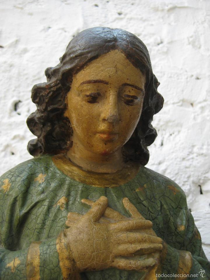 Arte: PRECIOSO GRAN ANGEL DE LA GUARDA EN ESTUCO POLICROMADO SOBRE MADERA - Foto 8 - 57296527