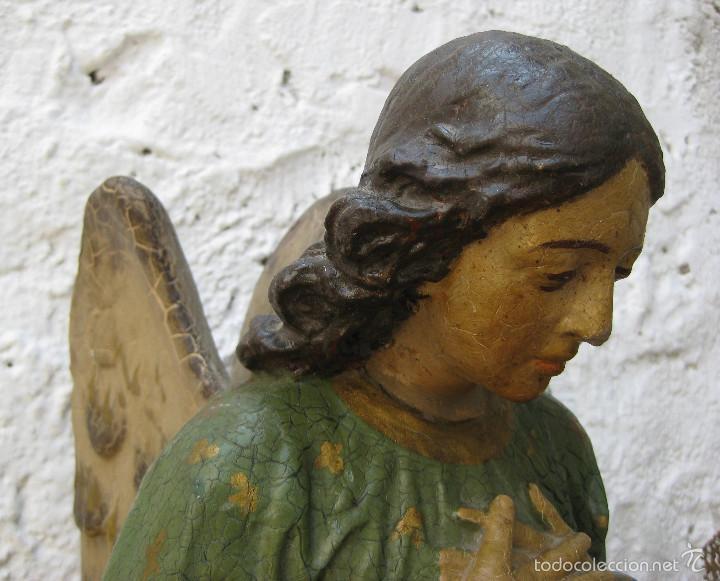 Arte: PRECIOSO GRAN ANGEL DE LA GUARDA EN ESTUCO POLICROMADO SOBRE MADERA - Foto 9 - 57296527