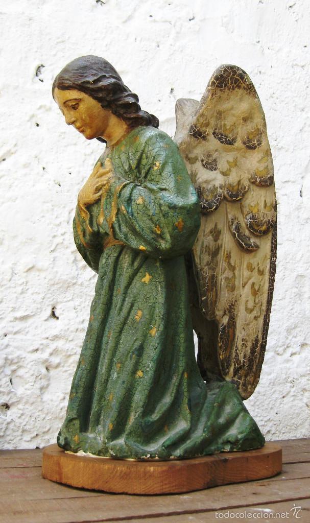 Arte: PRECIOSO GRAN ANGEL DE LA GUARDA EN ESTUCO POLICROMADO SOBRE MADERA - Foto 14 - 57296527