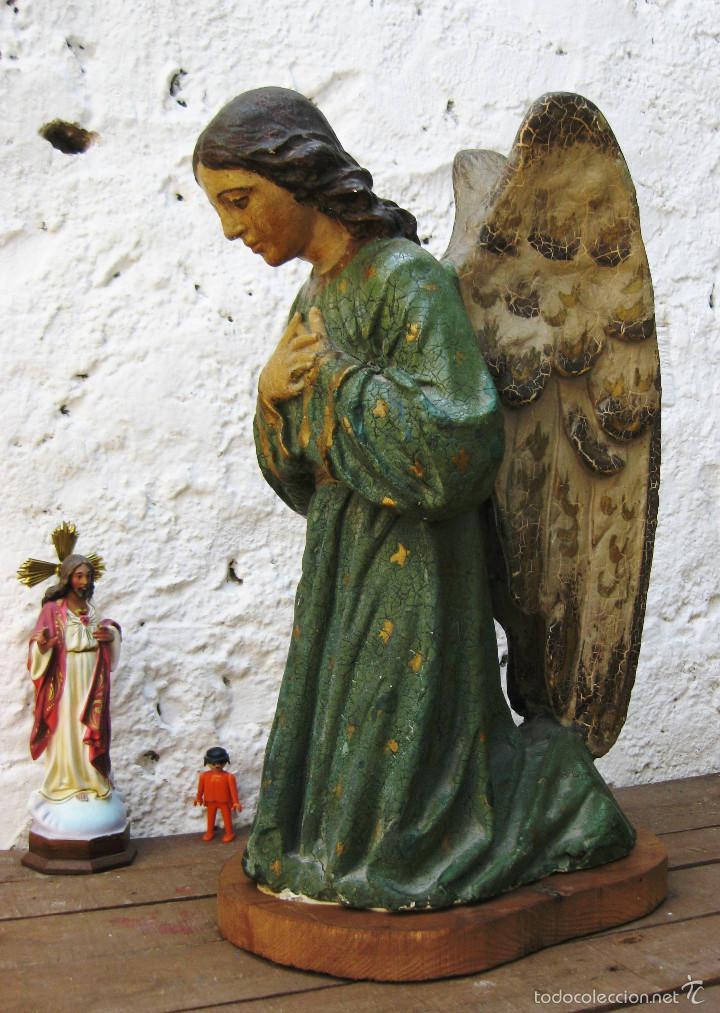 Arte: PRECIOSO GRAN ANGEL DE LA GUARDA EN ESTUCO POLICROMADO SOBRE MADERA - Foto 15 - 57296527