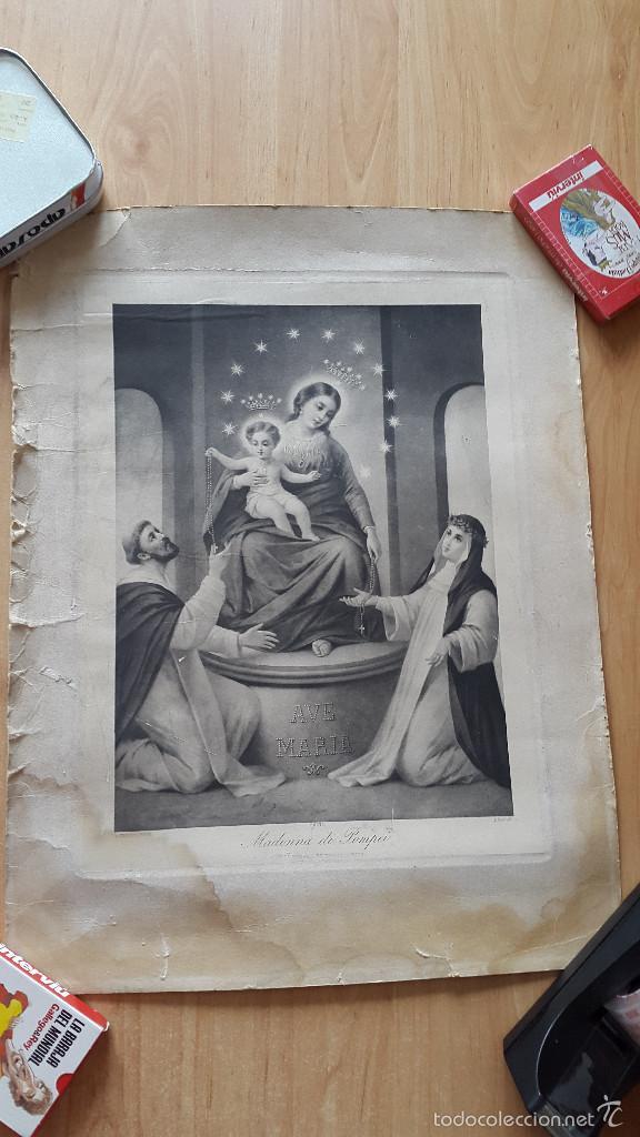 LITOGRAFIA RELIGIOSA AVE MARIA - MADONNA DI POMPEI (Arte - Arte Religioso - Litografías)