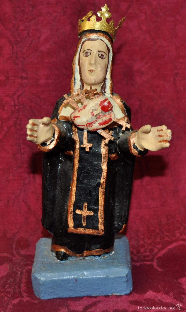 CURIOSA IMAGEN DE LA VIRGEN DE HUANCAYO (PERU) EN MADERA POLICROMADA (Arte - Arte Religioso - Escultura)
