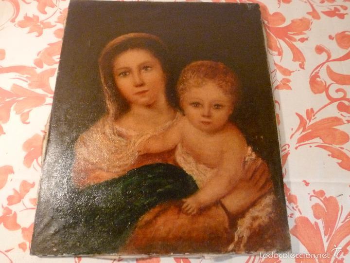 OLEO SOBRE LIENZO VIRGEN CON NIÑO (Arte - Arte Religioso - Pintura Religiosa - Oleo)