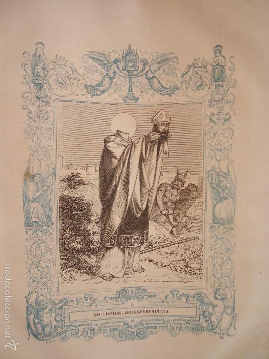 REF: KK - AÑO 1863 ORIGINAL GRABADO DE LA EPOCA RELIGIOSO - SAN LAUREANO ARZOBISPO DE SEVILLA (Arte - Arte Religioso - Grabados)