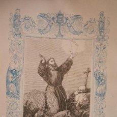 Arte: REF: KK - AÑO 1863 ORIGINAL GRABADO DE LA EPOCA RELIGIOSO - LAS LLAGAS DE SAN FRANCISCO DE ASIS. Lote 57303075