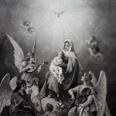 Arte: LUIGI CROSIO LITOGRAFIA 1870 LA SANTA VIRGEN CON LOS ANGELES. Lote 57306160