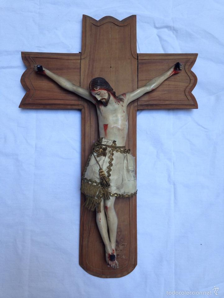 CRUZ, CRUCIFIJO CRISTO DE MADERA TALLADA DEL SIGLO XIX (Arte - Arte Religioso - Escultura)