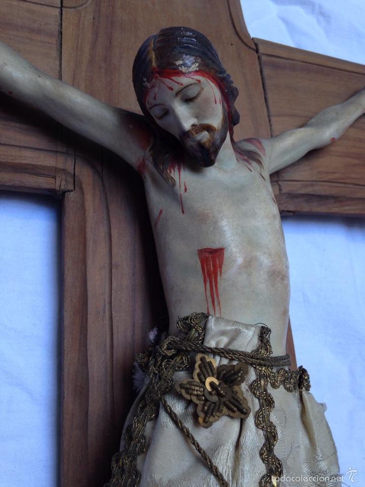 Arte: Cruz, Crucifijo Cristo de madera tallada del siglo XIX - Foto 2 - 57307168