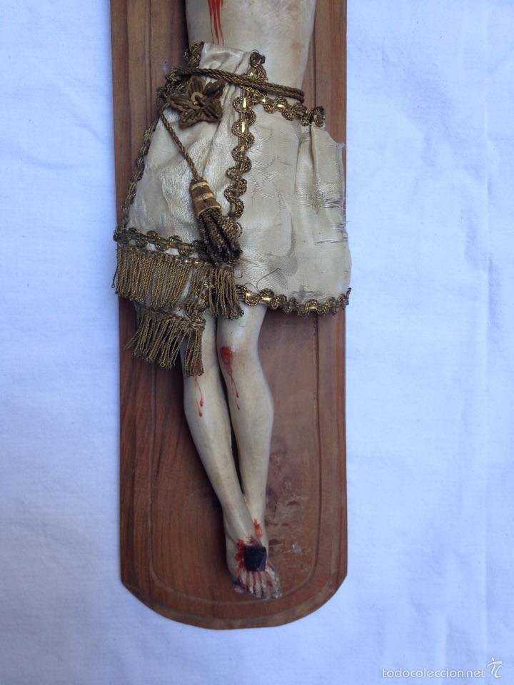 Arte: Cruz, Crucifijo Cristo de madera tallada del siglo XIX - Foto 3 - 57307168
