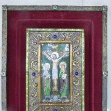 Arte: ANTIGUO CUADRO CRISTO ESMALTES SOBRE COBRE-ESCUELA SALMANTINA-ADORNOS DE CABUJONES-ORIGINAL AÑOS 50. Lote 57401287