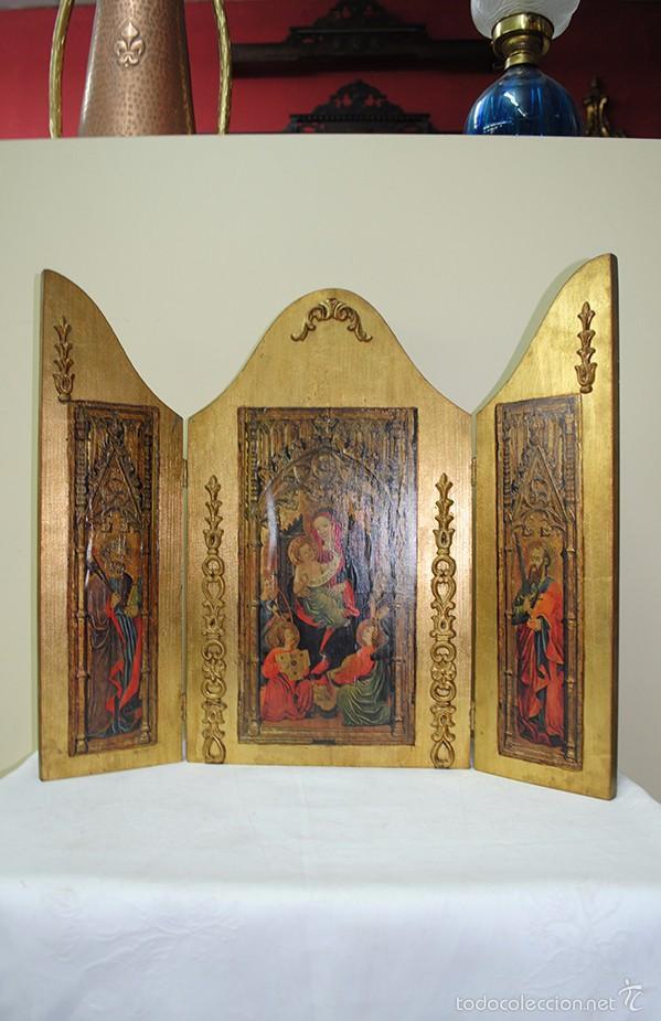 TRIPTICO ANTIGUO RELIGIOSO (Arte - Arte Religioso - Trípticos)