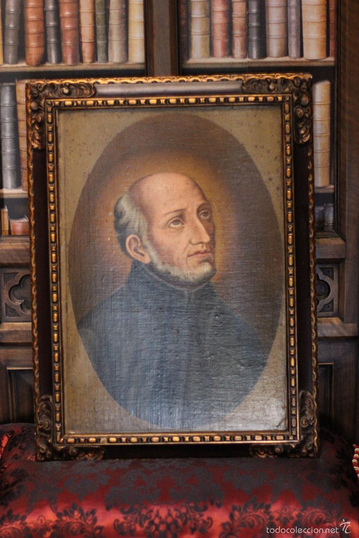 PRECIOSO OLEO SOBRE LIENZO SOBRE TABLA DE UN SANTO - POSIBLEMENTE SAN IGNACIO DE LOYOLA - 62X45CM - (Arte - Arte Religioso - Pintura Religiosa - Oleo)