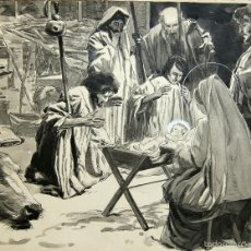 Arte: LA ADORACION DE LOS PASTORES - FRANZ GAILLIARD (BÉLGICA, 1861-1932). Lote 28359271