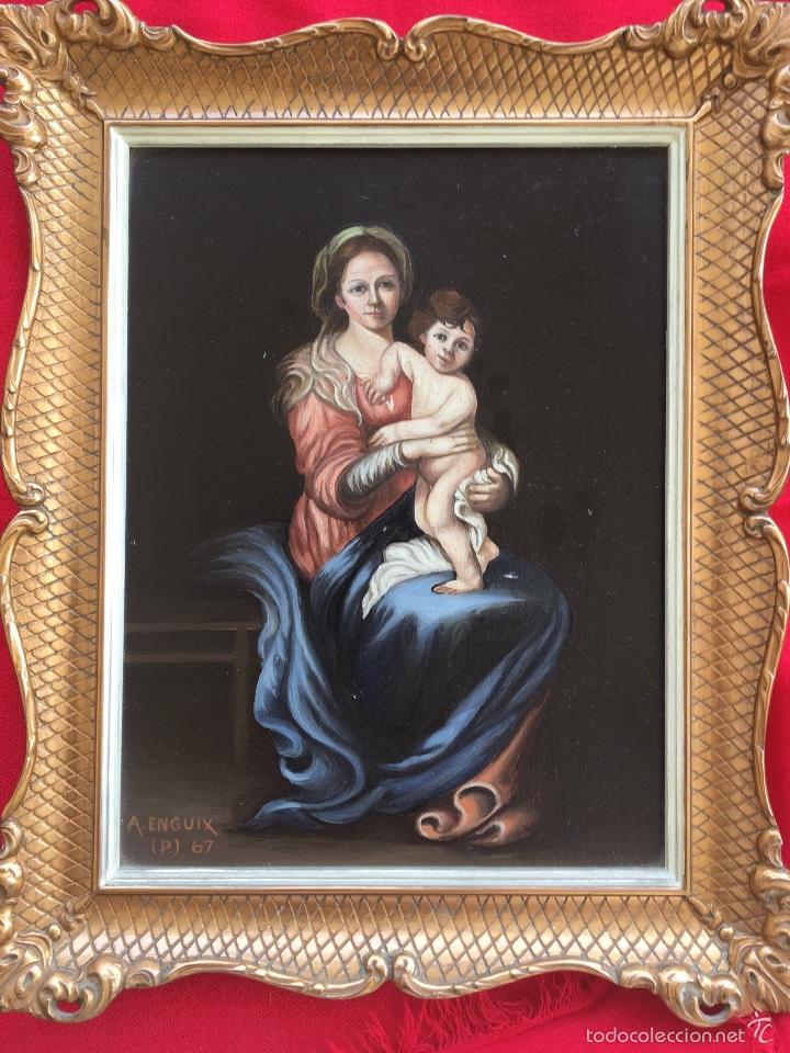 ALFREDO ENGUIX PADRE OLEO VIRGEN CON NIÑO 1967 ENMARCADO (Arte - Arte Religioso - Pintura Religiosa - Oleo)