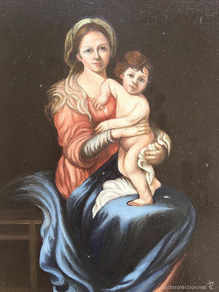 Arte: Alfredo enguix padre oleo virgen con niño 1967 enmarcado - Foto 2 - 57740787