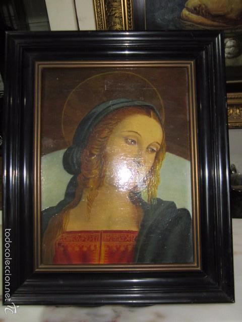 ÓLEO SOBRE CONTRACHAPADO. VÍRGEN. 19 X 25 CMS. (Arte - Arte Religioso - Pintura Religiosa - Oleo)