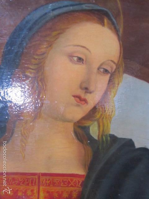 Arte: Óleo sobre contrachapado. Vírgen. 19 x 25 cms. - Foto 2 - 57829481